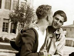 two 1950's men kiss